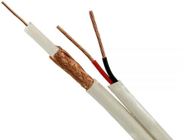 Cablu coaxial cu alimentare RG6 2x0.75 rola 100m CCS, culoare alb