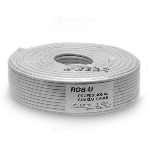 Cablu siamez RG 6 coaxial rola 100mCablu siamez RG 6 coaxial