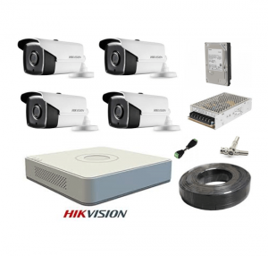 KIT 4 CAMERE SUPRAVEGHERE FULL HD 40 m IR HIKVISION COMPLET