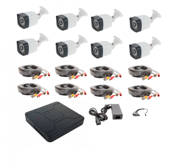 Sistem 8 camere supraveghere exterior FULL HD IR 30metri 1080P, DVR 8 canale, accesorii