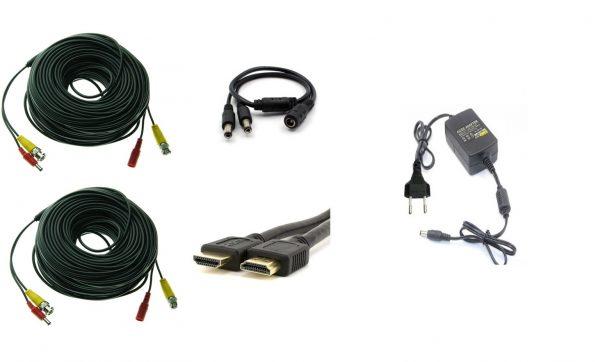 Kit accesorii sisteme de supraveghere 2 camere, cabluri gate mufate, cablu HDMI, sursa alimentare, splitter