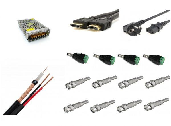 Kit accesorii sisteme de supraveghere camere profesional cu cablu coaxial, sursa alimentare, mufe, cablu HDMI