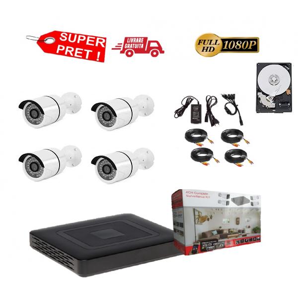 Sistem supraveghere video complet 4 camere exterior FULL HD cu IR 30 m cu vizionare live telefon mobil, DVR 4 canale, accesorii+hard 1Tb