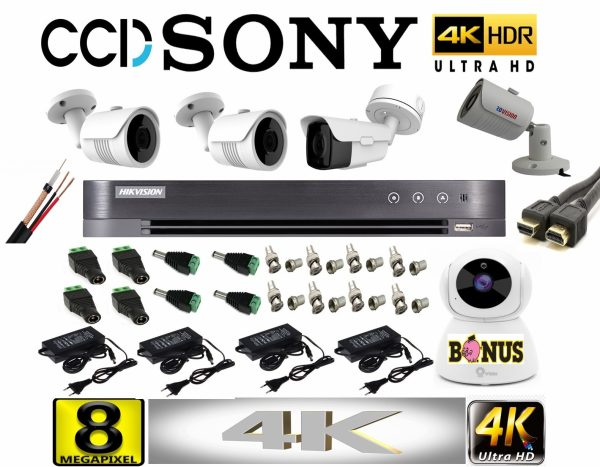 Kit profesional video 4K cu 4 camere ROVISION de 8MP 60m IR si 25m IR lentila Sony Dvr Hikvision 8canale+CADOU camera WIFI 2MP