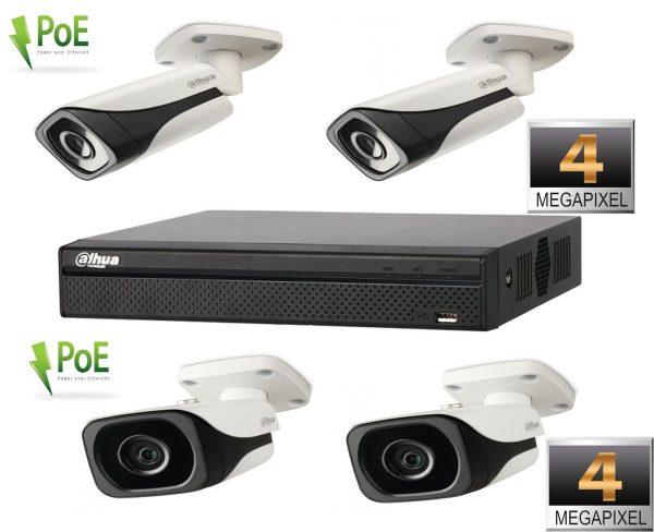 Kit profesional de supraveghere video POE cu 4 camere IP Dahua rezolutie 4MP IR 30m, NVR Dahua 4 canale 6MP