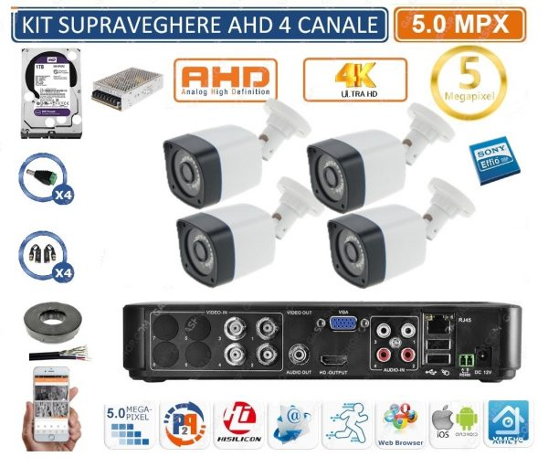 Kit supraveghere exterior complet 4 camere ultra profesional 5MP Rovision cu hard Western Digital 1Tb
