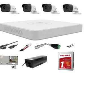 Sistem supraveghere profesional mixt 4 camere Hikvision 2 camere 5MP IR80m si 2 camere 2MP IR 40m, DVR 4 canale+ full accesorii