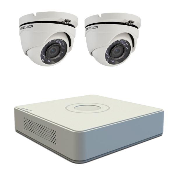 Kit supraveghere video Hikvision 2 camere TurboHD 1MP, DVR 4