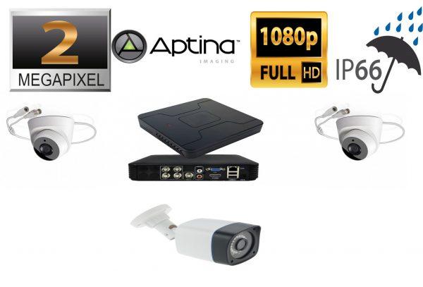 Kit supraveghere video mixt 3 camere, 1 exterior 2MP 1080P full hd IR30m si 2 nterior 2MP IR20m, live internet