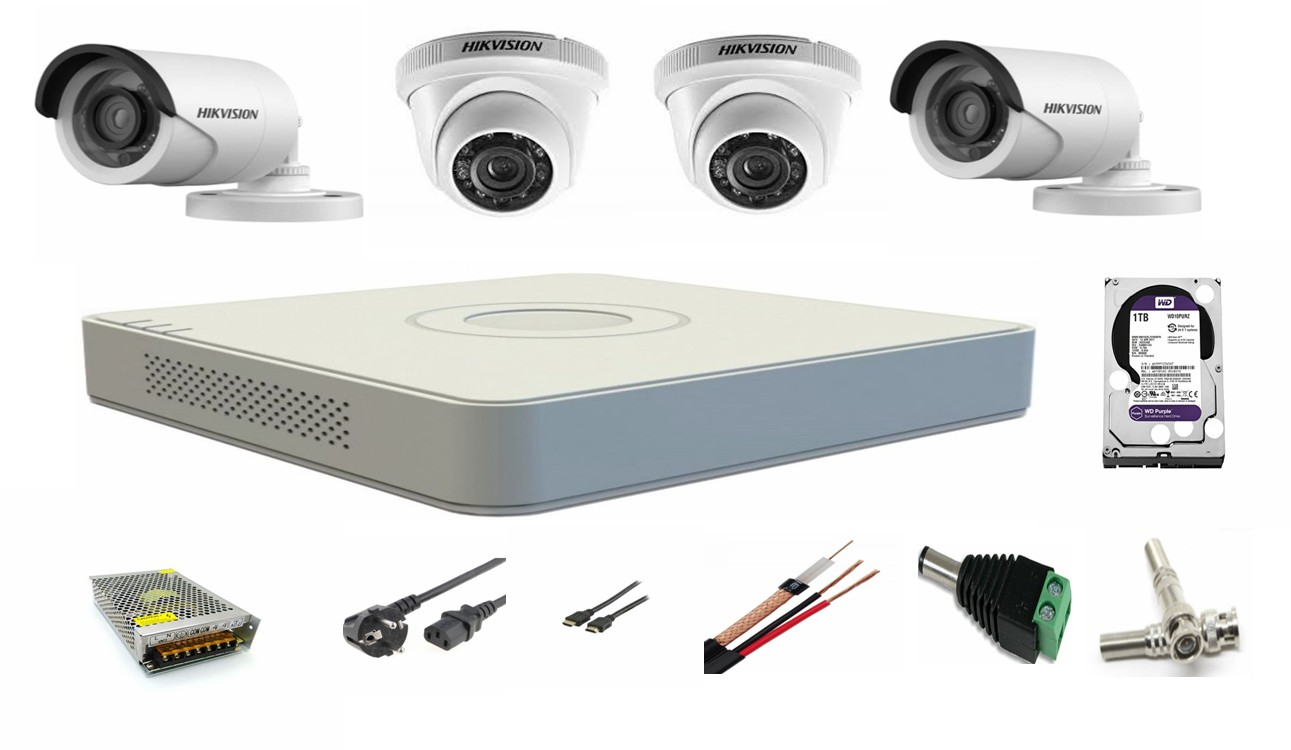Sistem supraveghere video mixt 4 camere Hikvision Turbo HD 2 camere interior 2 camere exterior toate accesoriile plus HDD Cadou