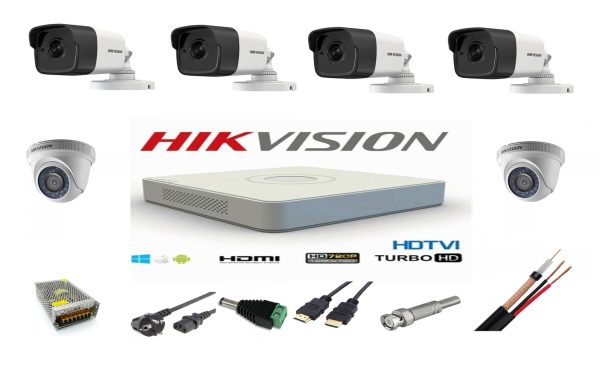 Sistem supraveghere video mixt complet 6 camere Turbo HD Hikvision 4 exterior IR40M 2 interior, DVR 8 canale, full accesorii, live internet