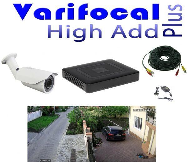Sistem supraveghere video parcare auto 1 camera FULL HD 1,3 MP 960P varifocala 40m infrarosu lentila 3Mp ccd Sony, DVR 4 canale