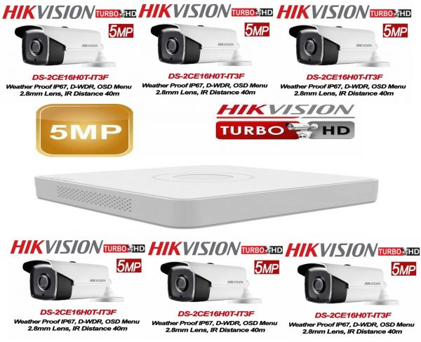 Kit supraveghere video profesional de exterior 6 camere Hikvision Turbo HD 5MP IR40 M , DVR 8 canale Hikvision, live internet