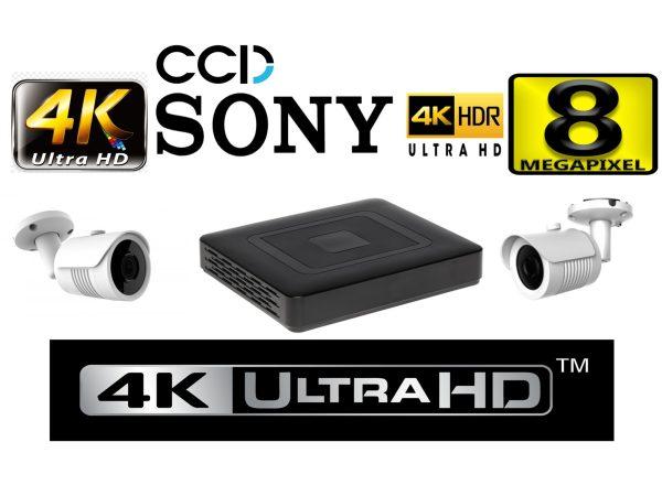Kit supraveghere video profesional tehnologie 4K 2 camere ROVISION de 8MP 25m IR lentila Sony Starvis 2.8mm cu DVR 4K