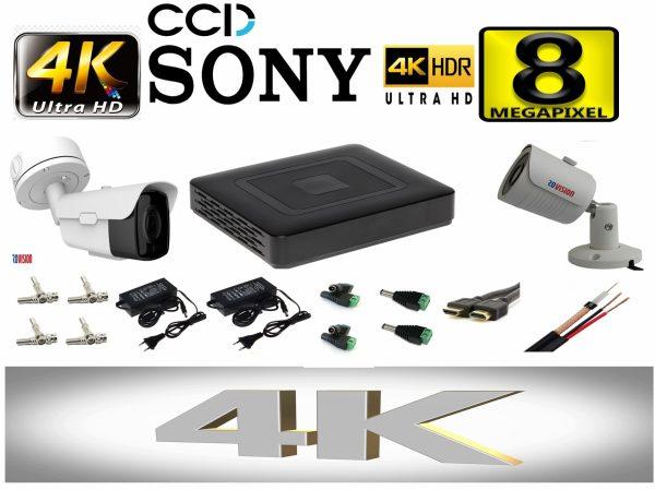 Kit supraveghere video profesional tehnologie 4K 2 camere ROVISION de 8MP 60m IR lentila Sony Starvis zoom motorizat