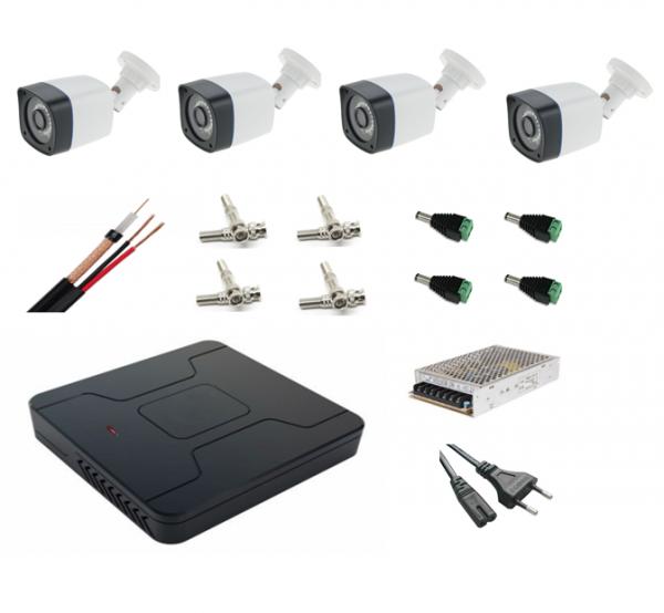 Sistem complet supraveghere 4 camere exterior FULL HD 2 MP 30m infrarosu, DVR 4 canale, accesorii