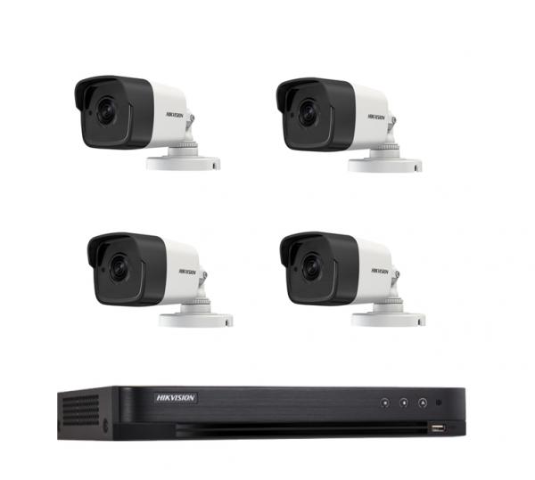 Kit supraveghere 4 camere exterior FULL HD Hikvision 40m infrarosu si DVR 4 canale 3MP Hikvision