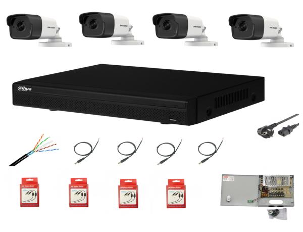Sistem supraveghere complet 4 camere Hikvision 2MP IR 80m cu DVR Dahua Pentabrid FULL HD, accesorii
