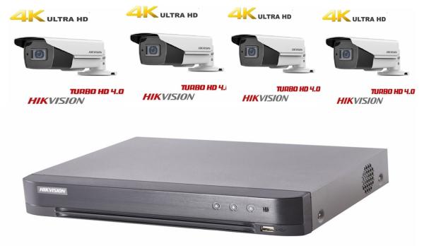 Sistem supraveghere Hikvision 4 camere Starlight TurboHD 8 MP IR80m lentila 2.8-12 mm, zoom motorizat