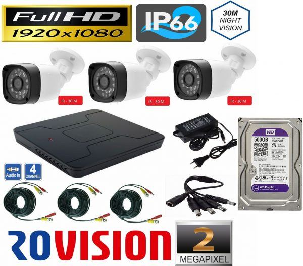 Sistem supraveghere video 3 camere exterior 2 MP 1080P full hd IR30m, DVR 4 canale, accesorii full, HARD 500 GB