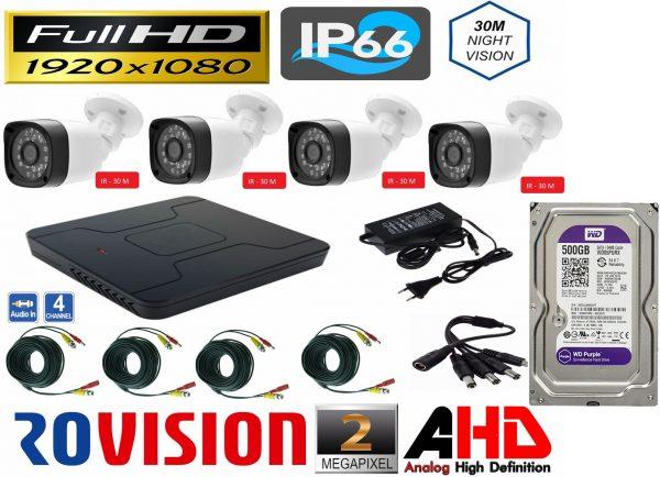 Sistem supraveghere video 4 camere exterior 2 MP 1080P FULL HD IR30m, DVR, HDD 500 GB, accesorii full