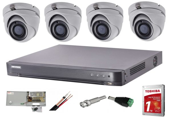 Sistem supraveghere video interior complet Hikvision 4 camere Turbo HD 5 MP 20 m IR accesorii incluse, cadou HDD 1tb