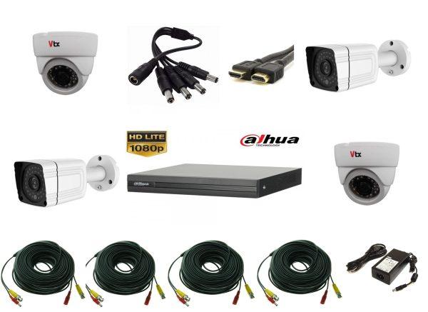 Sistem supraveghere video mixt cu 4 camere 2 camere 2MP AHD IR30m si 2 camere 1MP IR20m, DVR DAHUA 4 canale, accesorii, live internet