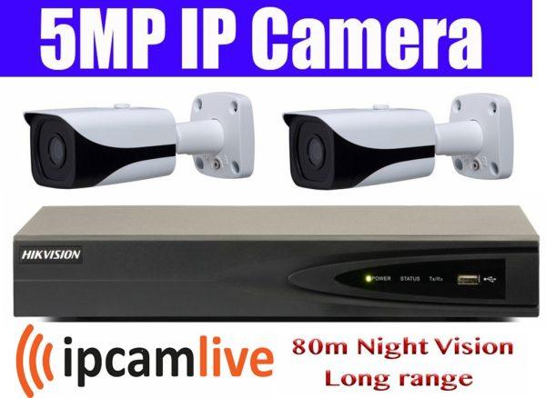 Sistem supraveghere video profesional 2 camere IP Rovision 5MP cu IR 80m cu NVR 4 canale Hikvision