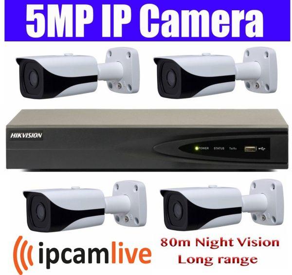 Sistem supraveghere video profesional 4 camere IP Rovision 5MP cu IR 80m cu NVR 4 canale Hikvision