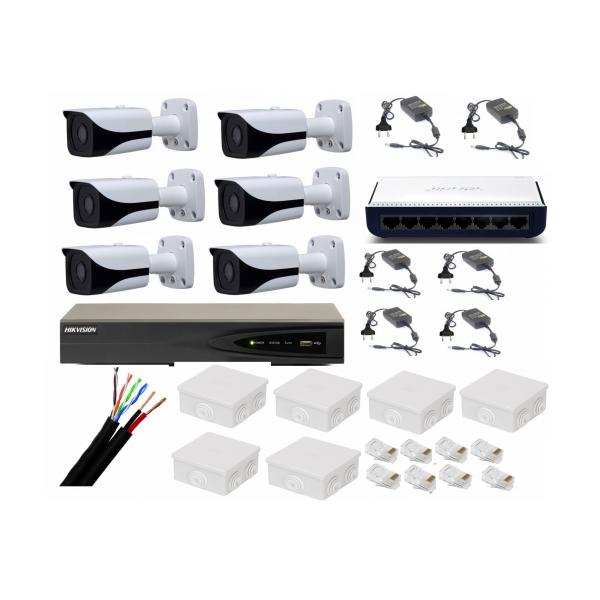 Sistem supraveghere video profesional 6 camere IP Rovision 5MP cu IR 80m cu NVR 8 canale Hikvision, full accesorii