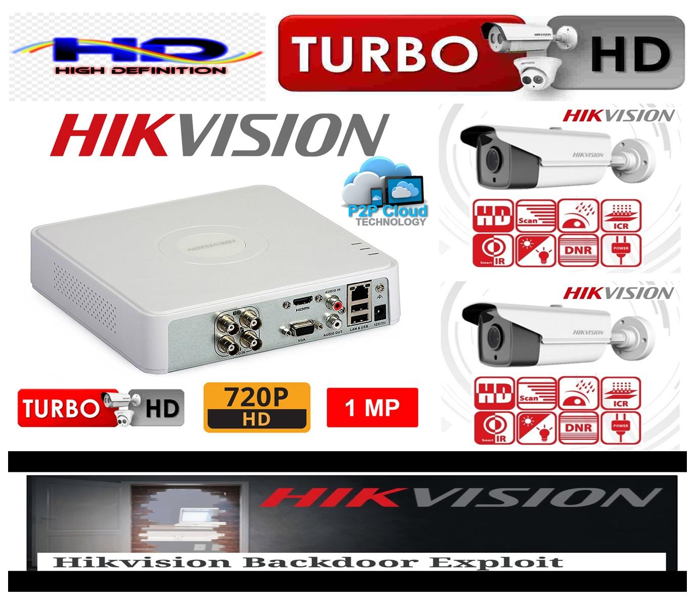Sistem supraveghere video profesional de exterior 2 camere Hikvision Turbo HD 80m IR si 40m IR, DVR 4 canale