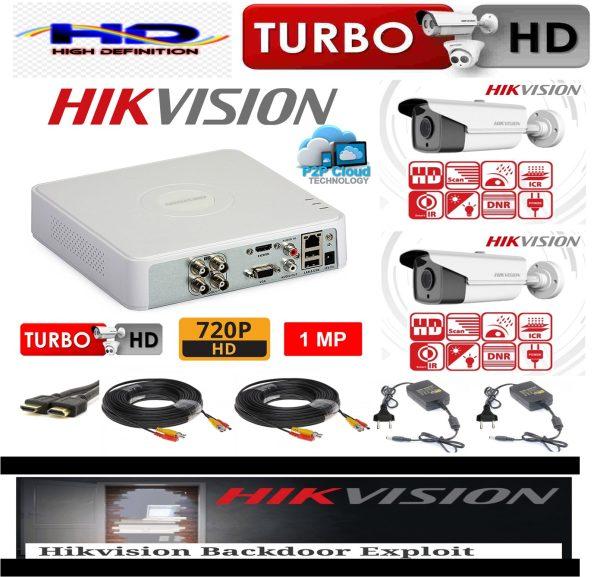 Sistem supraveghere video profesional exterior 2 camere Hikvision Turbo HD 80m IR si 40m IR DVR 4 canale cu accesorii
