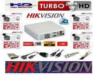 Sistem supraveghere video profesional exterior 4 camere Hikvision Turbo HD, 80m IR si 40m IR, DVR 4 canale cu accesorii