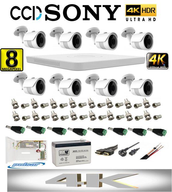 Kit profesional video 4K cu 8 camere ROVISION de 8MP 25m IR lentila Sony, DVR Hikvision, full accesorii