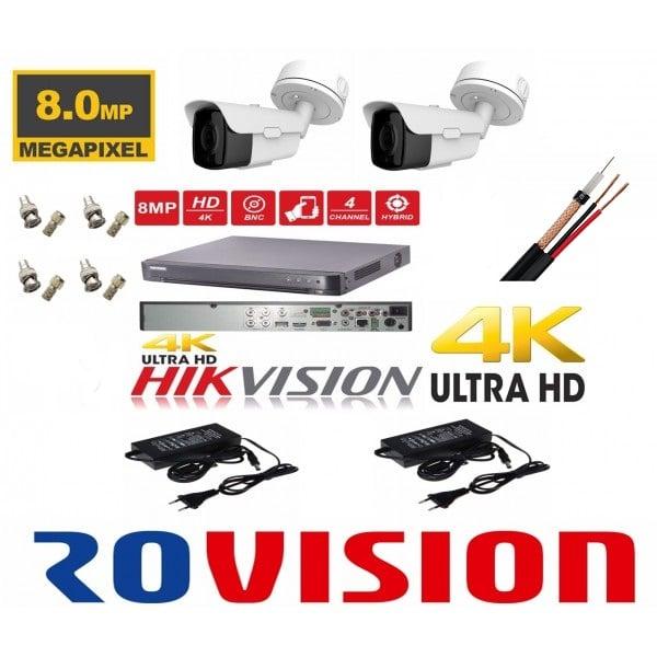 Sistem supraveghere 4K cu 2 camere ROVISION de 8MP 60m IR lentila Sony zoom motorizat DVR Hikvision full accesorii