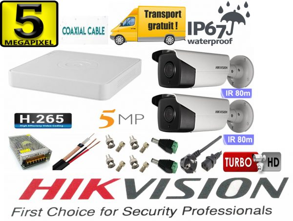 Sistem supraveghere video Hikvision 2 camere 5MP Turbo HD IR 80 M cu DVR Hikvision 4 canale full accesorii, cablu coaxial