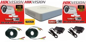Sistem supraveghere video Hikvision 2 camere Turbo HD IR 20 M cu DVR Hikvision 4 canale, full accesorii