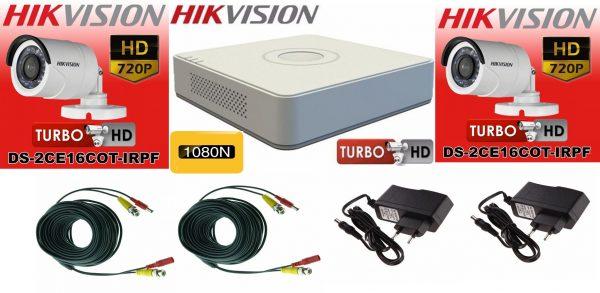 Sistem supraveghere video Hikvision 2 camere Turbo HD IR 20 M cu DVR Hikvision 4 canale, full accesorii