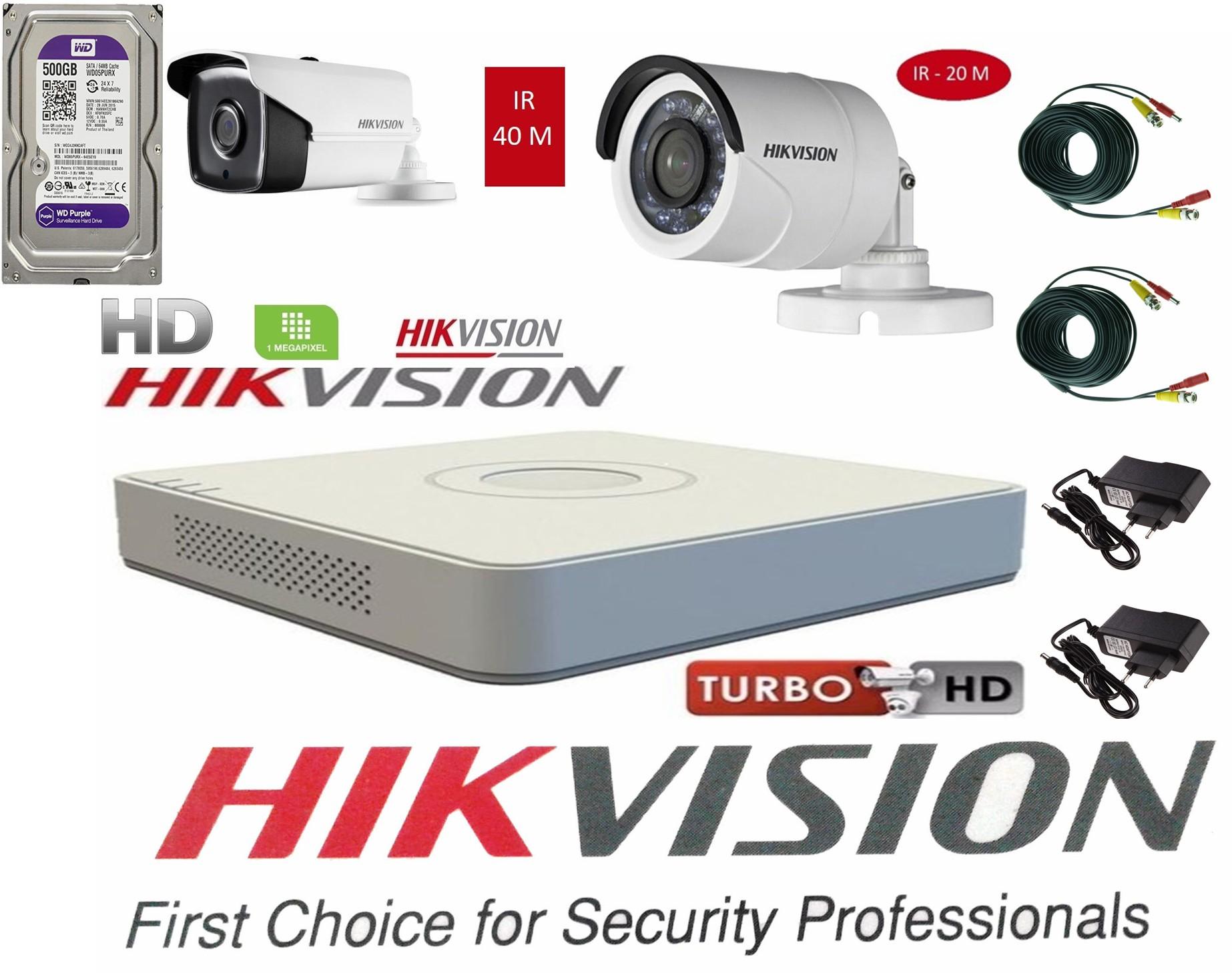 Sistem supraveghere video Hikvision 2 camere Turbo HD IR 40 M si IR 20 M cu DVR Hikvision , HARD 500GB, full accesorii