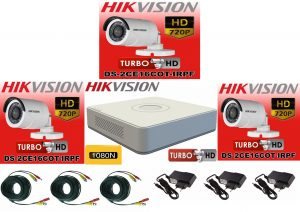 Sistem supraveghere video Hikvision 3 camere Turbo HD IR 20 M cu DVR Hikvision 4 canale, full accesorii