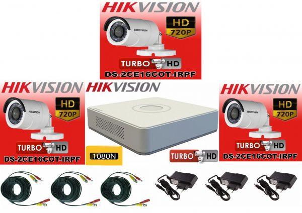 Sistem supraveghere video Hikvision 3 camere Turbo HD IR 20 M cu DVR Hikvision 4 canale, full accesorii