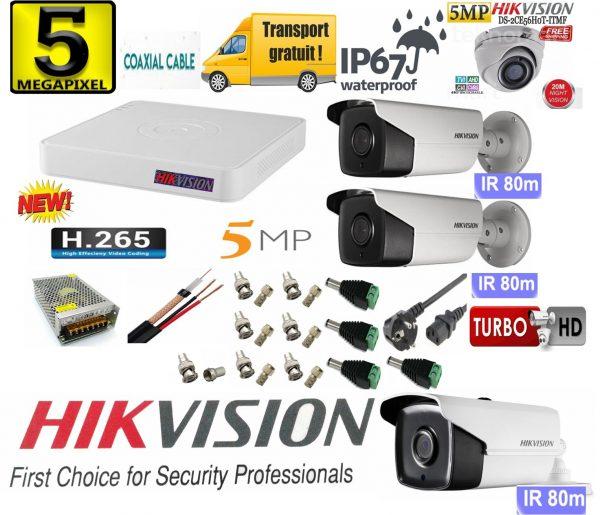 Sistem supraveghere video Hikvision 4 camere 5MP, 3 exterior Turbo HD IR 80 M 1 interior IR 20m cu full accesorii