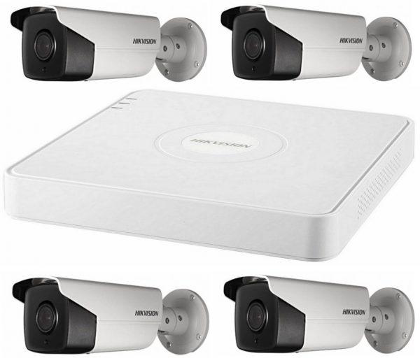 Sistem supraveghere video Hikvision 4 camere de exterior 5MP Turbo HD, 2 cu IR80M si 2 cu IR40M