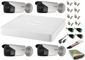 Sistem supraveghere video Hikvision 4 camere de exterior 5MP Turbo HD 2 cu IR 80M si 2 cu IR 40M, full accesorii