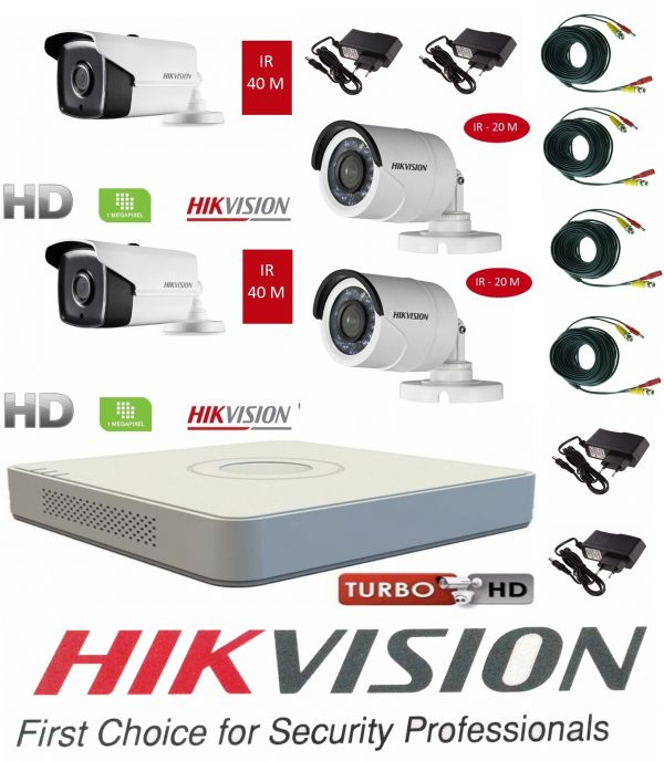 Sistem supraveghere video Hikvision 4 camere Turbo HD IR 40 M si IR 20 M cu DVR Hikvision 4 canale, full accesorii