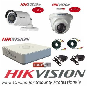 Sistem supraveghere video mixt Hikvision 2 camere Turbo HD IR 20 M cu DVR Hikvision 4 canale, full accesorii