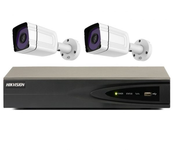 Sistem supraveghere video profesional tehnologie IP cu 2 camere Rovision IP 2MP IR 30m lentila Sony, NVR Hikvision