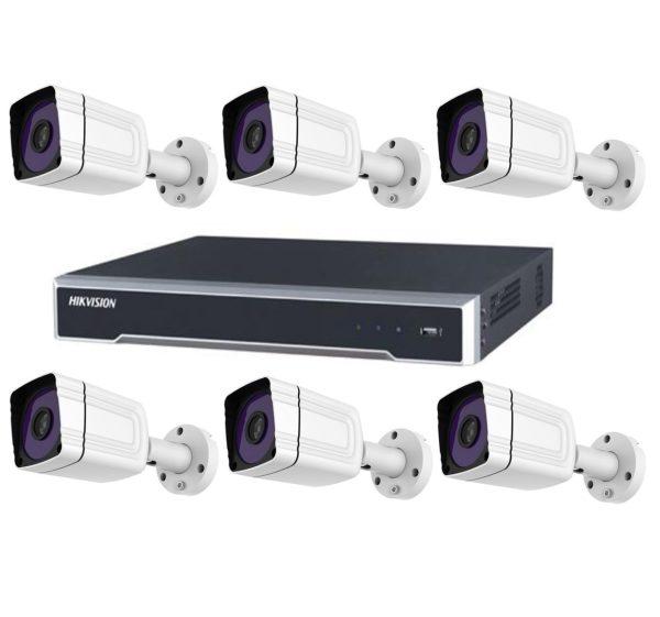 Sistem supraveghere video profesional tehnologie IP cu 6 camere Rovision IP 2MP IR 30 m lentila Sony, NVR Hikvisio