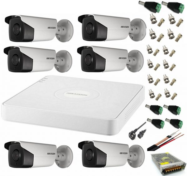 Sistem supraveghere video ultra profesional Hikvision 6 camere exterior 5MP Turbo HD cu IR 80M, DVR 8 canale, full accesorii
