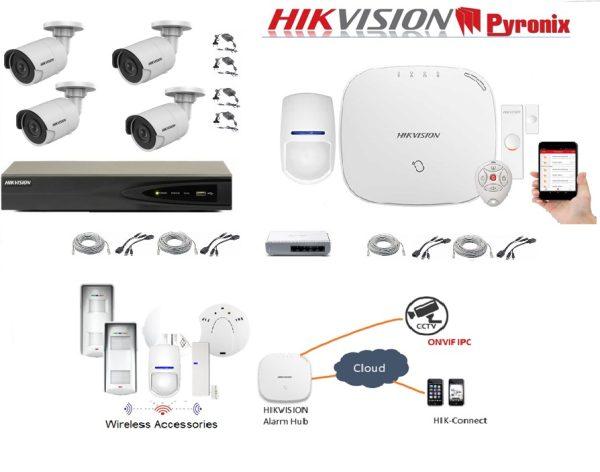 Sistem supraveghere 4 camere IP 5MP integrat cu sistem de alarma WiFi Hikvision